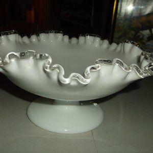 fenton silver crest milk glass pedestal bowl